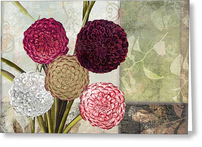 Dahlias For Donna II Greeting Card by Mindy Sommers