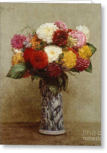 Dahlia Greeting Cards - Dahlias in a Chinese Vase Greeting Card by Ignace Henri Jean Fantin-Latour