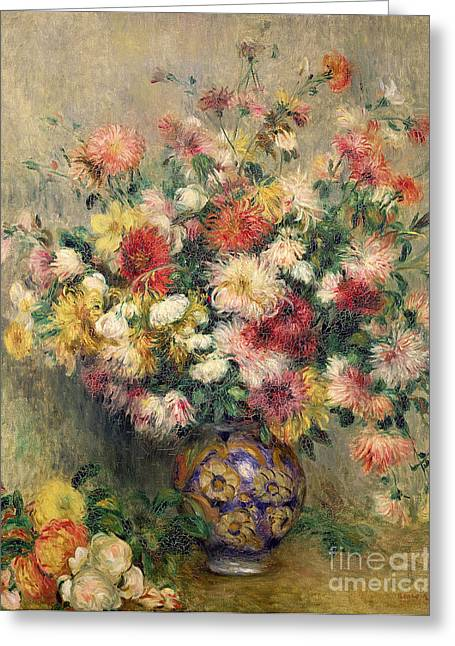 Dahlia Greeting Cards - Dahlias Greeting Card by Pierre Auguste Renoir
