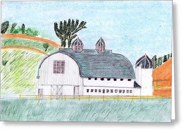 Dairy Barn Greeting Card by John Hoppy Hopkins
