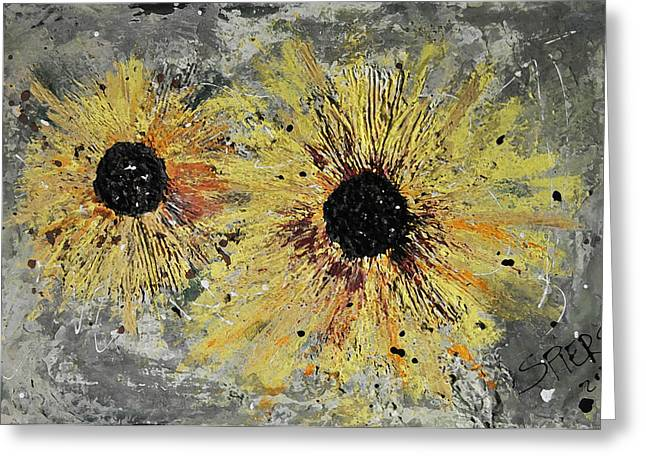 Texture Flower Drawings Greeting Cards - Daised and Confused Greeting Card by Amanda  Sanford