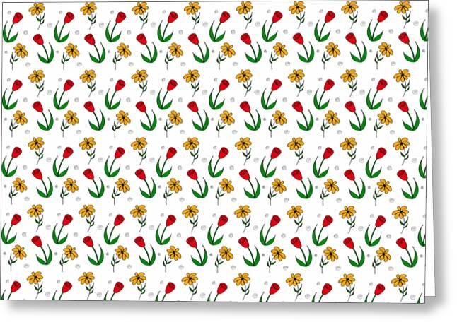 Hand Drawn Greeting Cards - Daisies And Tulips  Greeting Card by Sharon Norman