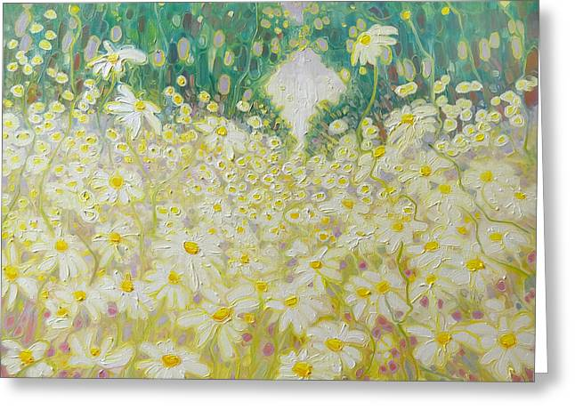 Mystical Landscape Greeting Cards - Daisies in a Sussex Meadow Greeting Card by Gill Bustamante