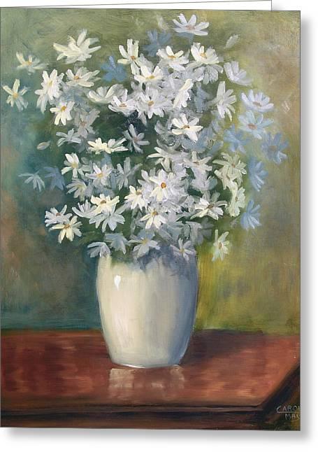 Daisies 'n' Porcelain Greeting Card by Art by Carol May