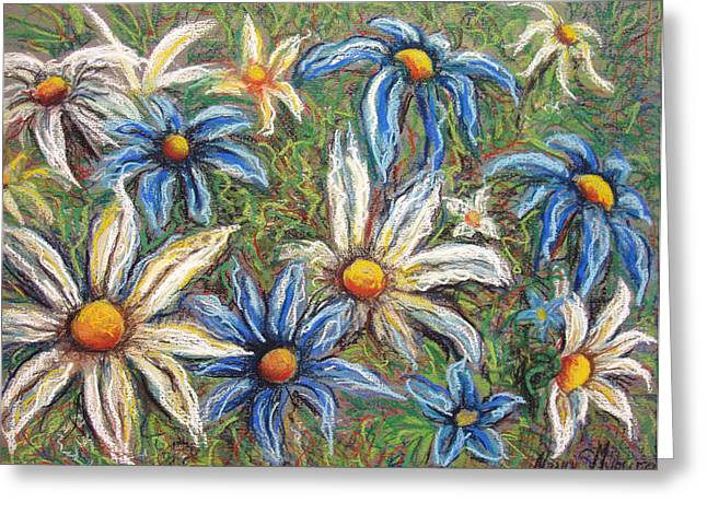 Nature Abstract Pastels Greeting Cards - Daisies Pastel Greeting Card by Nancy Mueller