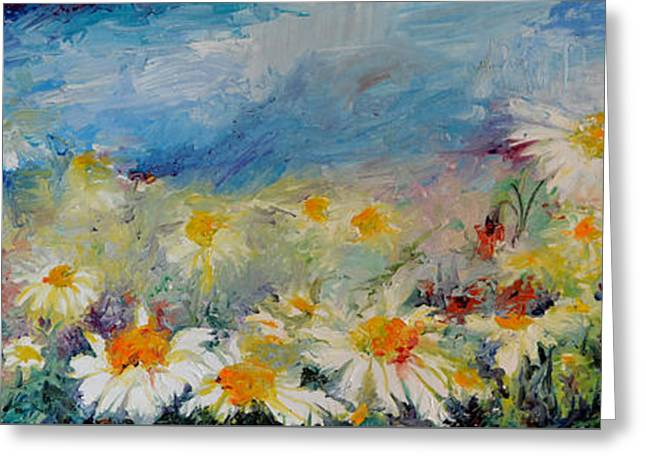 Daisies Spring Field, White Flowers On The Sky Greeting Card by Soos Roxana Gabriela