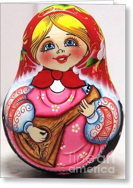 Daisy Sculptures Greeting Cards - Daisy Balalaika Chime Doll Greeting Card by Viktoriya Sirris