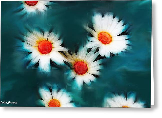 Floral Digital Art Digital Art Photographs Greeting Cards - Daisy Blue Greeting Card by Linda Sannuti