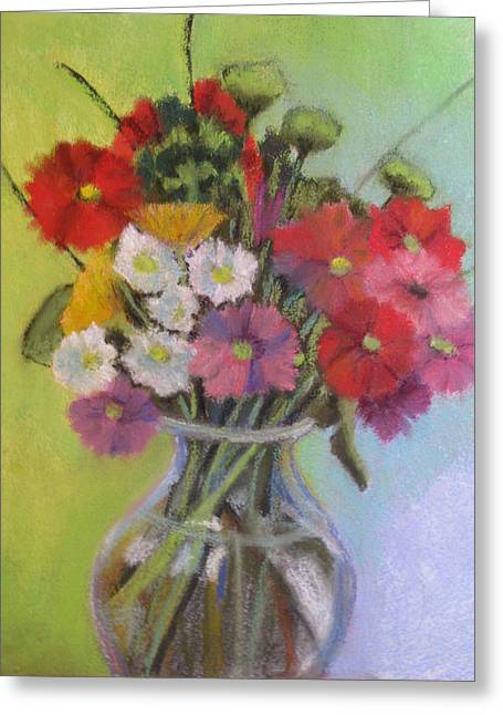 Vase Of Flowers Pastels Greeting Cards - Daisy Bouquet Greeting Card by Constance Gehring