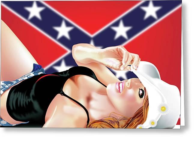 Confederate Flag Digital Art Greeting Cards - Daisy Greeting Card by Brian Gibbs