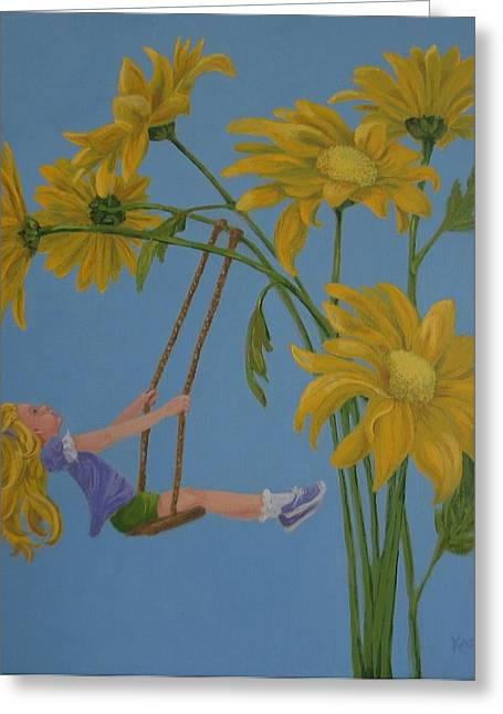 Child Swinging Paintings Greeting Cards - Daisy Days Greeting Card by Karen Ilari