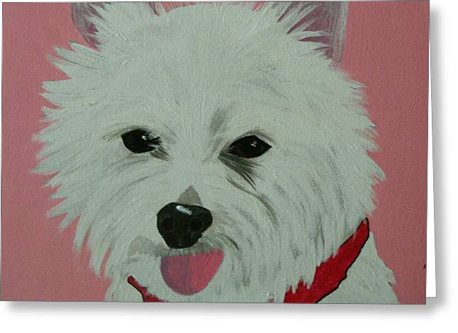 Puppies Paintings Greeting Cards - Daisy Greeting Card by Edie Lee