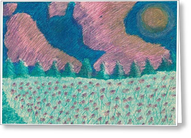 Fir Trees Pastels Greeting Cards - Daisy fields Greeting Card by Lisa Balter