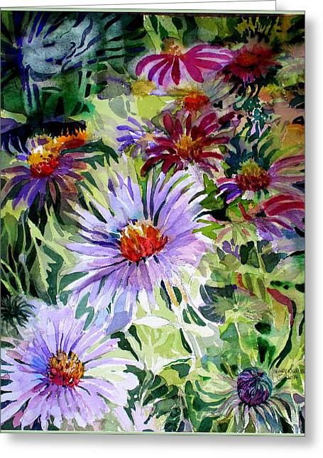 Viridian Greeting Cards - Daisy Garden Greeting Card by Mindy Newman