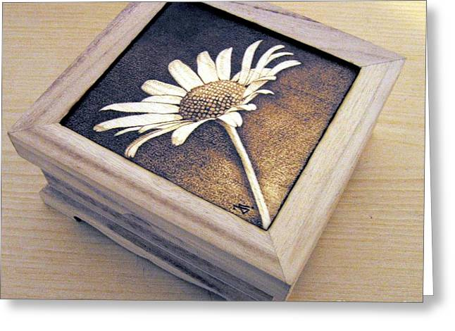 Flower Boxes Pyrography Greeting Cards - Daisy  Greeting Card by Ilaria Andreucci