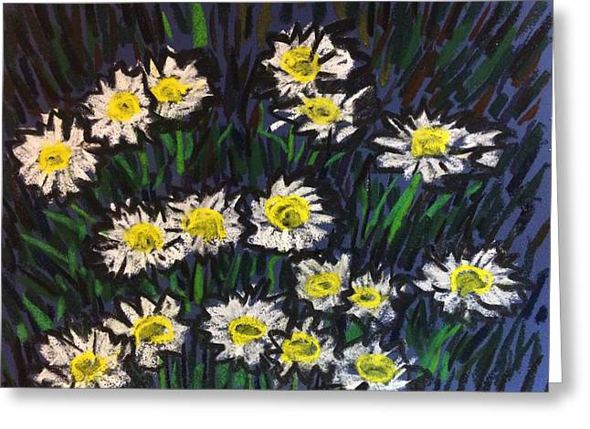 Daisies Pastels Greeting Cards - Daisy in Darkness Greeting Card by Tim Bruneau