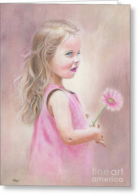 Coloured Pastels Greeting Cards - Daisy Greeting Card by Karen Hull