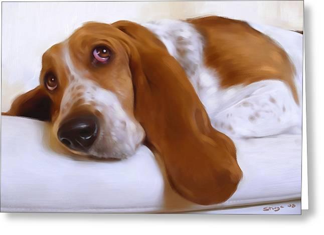 Sleeping Dogs Greeting Cards - Daisy Greeting Card by Simon Sturge