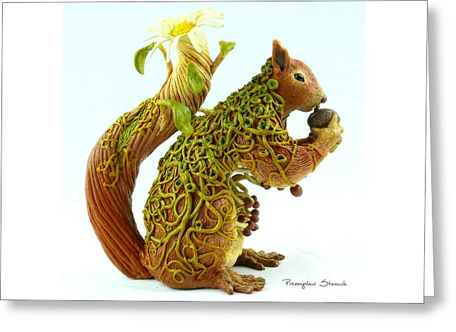 Acrylic Polymer Clay Greeting Cards - Daisy Squirrel Greeting Card by Przemyslaw Stanuch