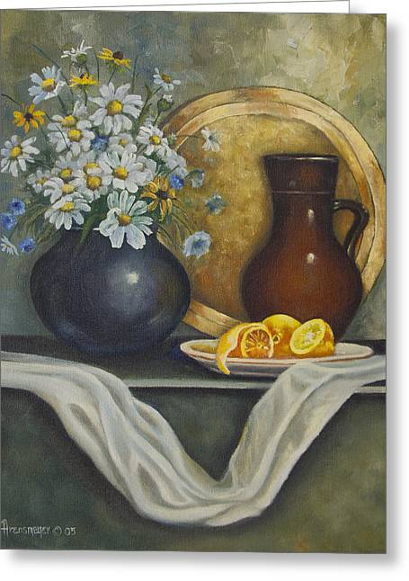 Pottery Pitcher Paintings Greeting Cards - Daisy Stillife With Oranges Greeting Card by Ann Arensmeyer