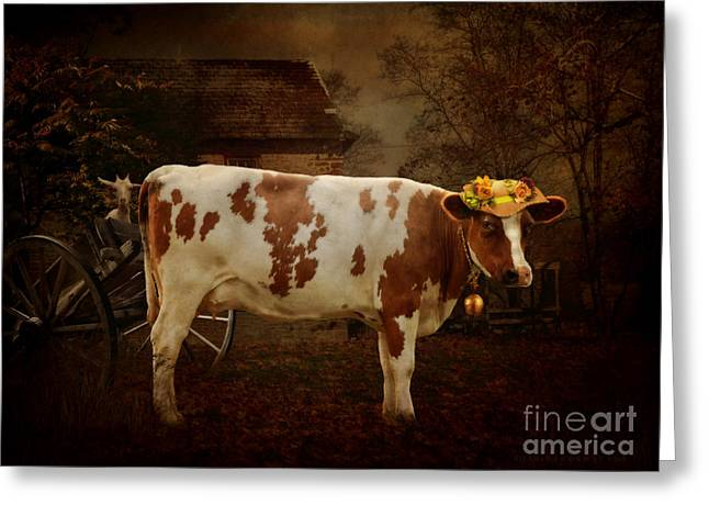 Cart Digital Art Greeting Cards - Daisy the Cow Greeting Card by Shanina Conway
