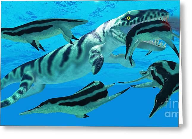 Pictures Sea Creatures Greeting Cards - Dakosaurus Marauder Greeting Card by Corey Ford