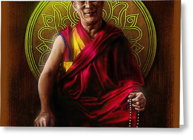 Wacom Greeting Cards - Dalai Lama Greeting Card by Andre Koekemoer