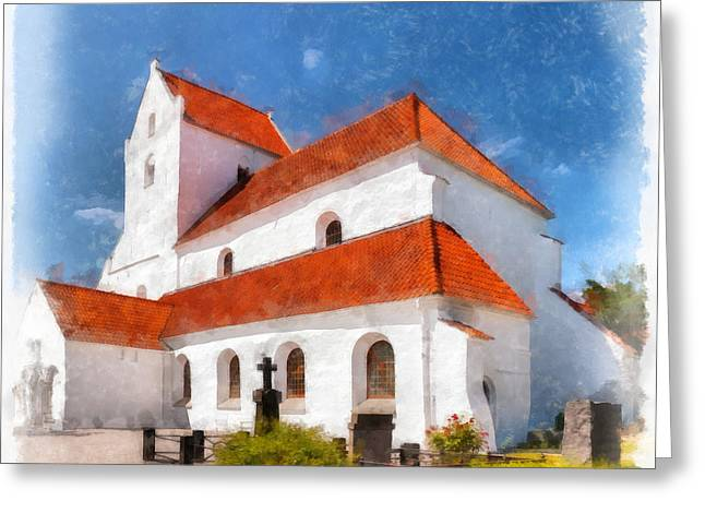Kloster Greeting Cards - Dalby Kloster Digital Watercolor Painting Greeting Card by Antony McAulay
