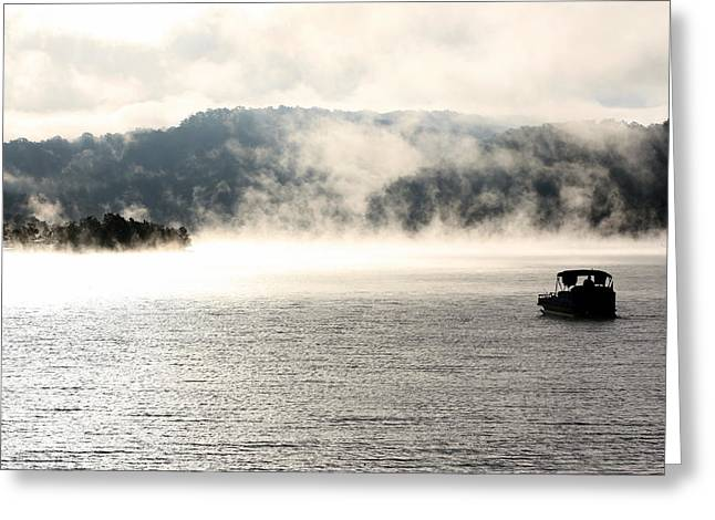Pontoon Greeting Cards - Dale Hollow Morning Fishing Greeting Card by Susie Weaver