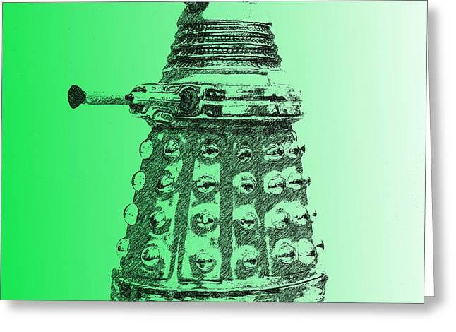 Dalek Green Greeting Card by Richard Reeve