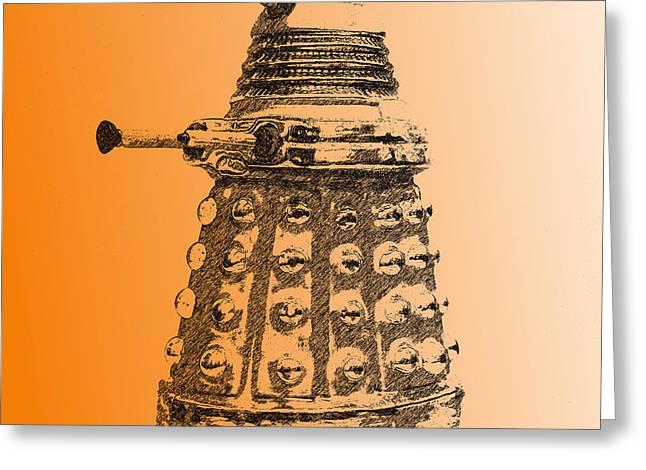 Sec Greeting Cards - Dalek Orange Greeting Card by Richard Reeve