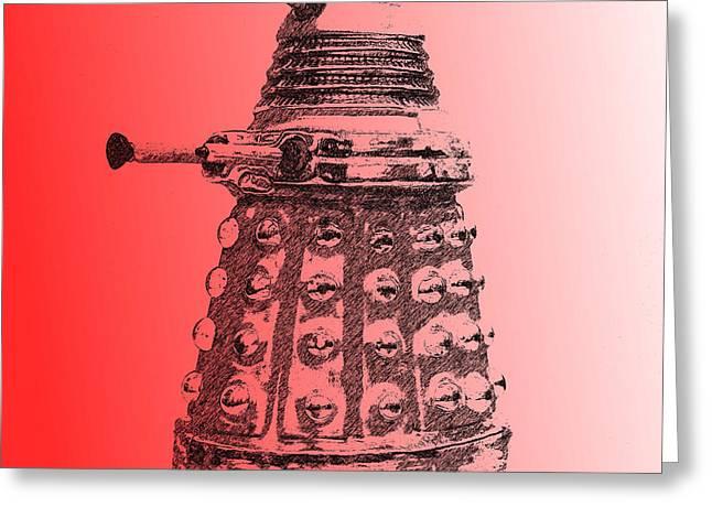 Sec Greeting Cards - Dalek Red Greeting Card by Richard Reeve