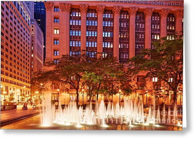 Daley Plaza At Dawn - City Of Chicago - Illinois Greeting Card by Silvio Ligutti