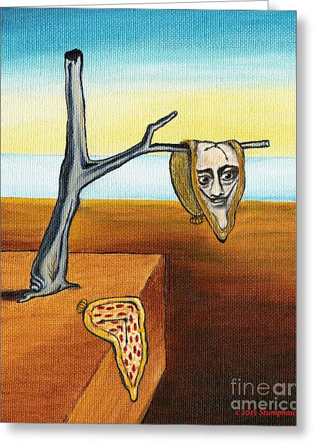 Dali Out On A Limb And A Pizza Clock Greeting Card by Jerome Stumphauzer