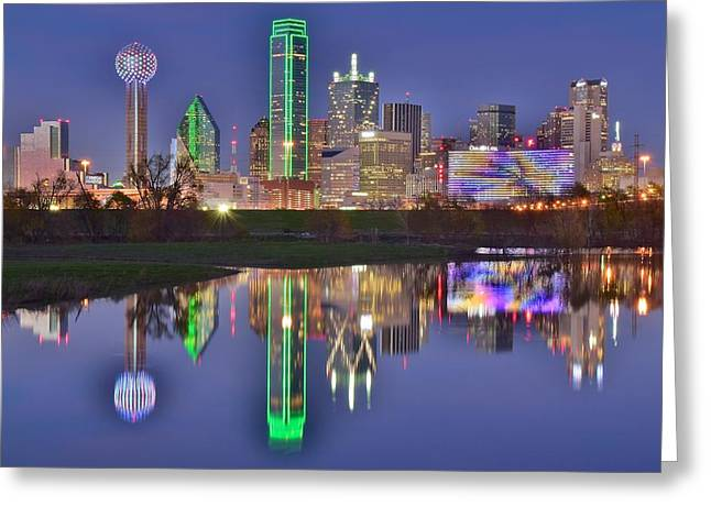 Dallas Blue Hour Greeting Card by Frozen in Time Fine Art Photography