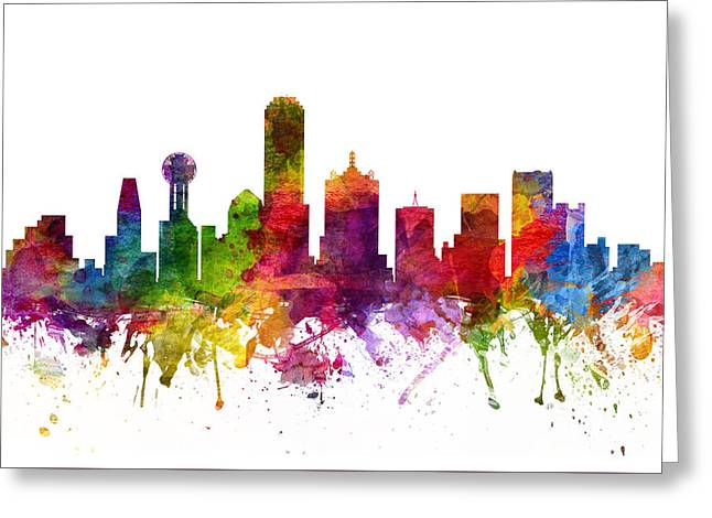 Dallas Skyline Greeting Cards - Dallas Cityscape 06 Greeting Card by Aged Pixel
