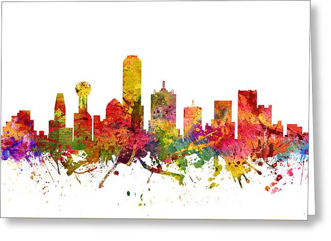 Dallas Texas Greeting Cards - Dallas Cityscape 08 Greeting Card by Aged Pixel