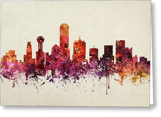 Dallas Digital Art Greeting Cards - Dallas Cityscape 09 Greeting Card by Aged Pixel