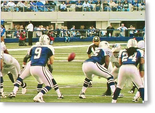 Cowboys Cheerleaders Greeting Cards - Dallas Cowboys and Quarterback #9 Tony Romo Greeting Card by Donna Wilson