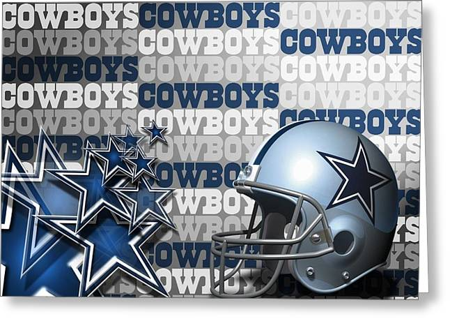 Jimmy Rogers Greeting Cards - The Dallas Cowboys Football Team Helmet and Stars Greeting Card by Donna Wilson