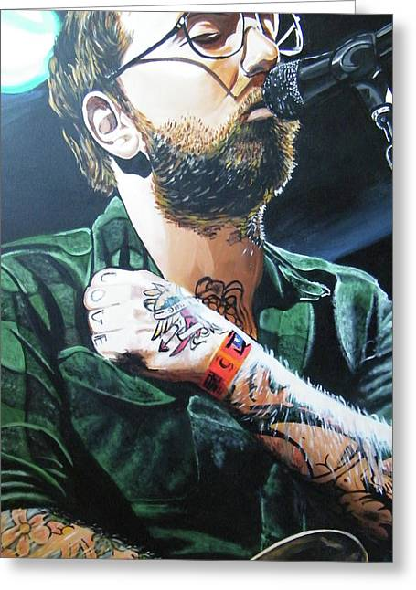 Rock And Roll Paintings Greeting Cards - Dallas Green Greeting Card by Aaron Joseph Gutierrez