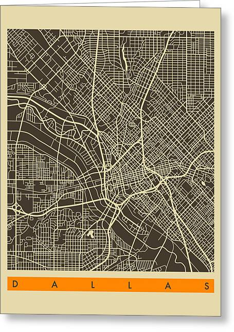 Dallas Texas Greeting Cards - Dallas City Map Greeting Card by Jazzberry Blue