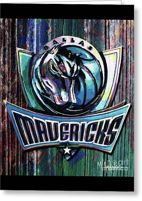 Dallas Mavericks Greeting Card by Maria Arango