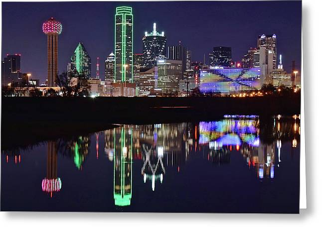 Dallas Reflecting At Night Greeting Card by Frozen in Time Fine Art Photography