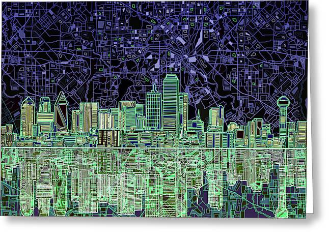 Dallas Skyline Abstract 4 Greeting Card by Bekim Art