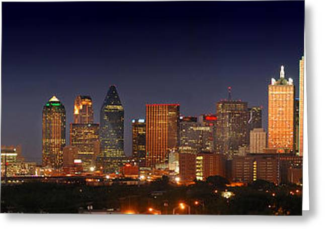 Sunset Scene Greeting Cards - Dallas Skyline at Dusk  Greeting Card by Jon Holiday
