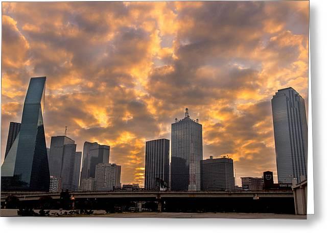 American Bridge Company Greeting Cards - Dallas Skyline Greeting Card by Drew Castelhano