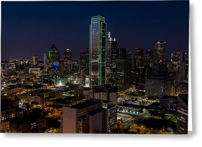 Illuminate Greeting Cards - Dallas Skyline Evening glow Greeting Card by Andy Myatt