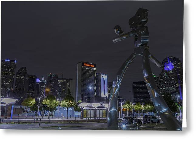 Metal Art Greeting Cards - Dallas Skyline Traveling Man  Greeting Card by Jonathan Davison
