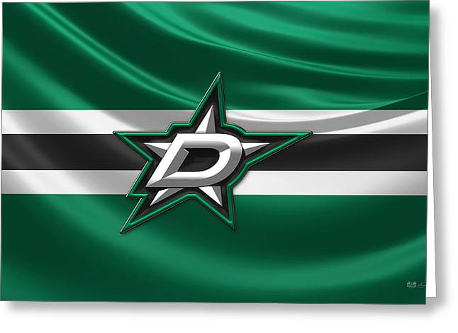 Hockey Memorabilia Greeting Cards - Dallas Stars - 3D Badge over Silk Flag Greeting Card by Serge Averbukh